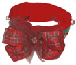 Christmas dog collar - choker style with bells and bow